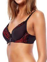 Czarno-czerwony usztywniany biustonosz z ozdobną koronką                                  zdj.                                  3