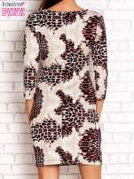 Czarno-różowa sukienka w geometryczne wzory                                                                          zdj.                                                                         4