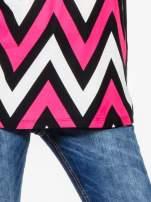 Czarno-różowy t-shirt w geometryczne wzory                                  zdj.                                  6