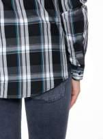 Czarno-turkusowa koszula w kratę z kieszeniami                                  zdj.                                  10