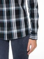 Czarno-turkusowa koszula w kratę z kieszeniami                                  zdj.                                  7