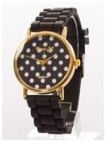 Czarny damski zegarek z tarczą w białe grochy. Wygodny silikonowy pasek                                                                           zdj.                                                                         2