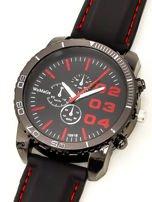 Czarny duży zegarek męski na silikonowym wygodnym pasku z czerwonymi wstawkami                                  zdj.                                  2