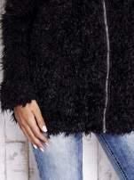Czarny futrzany sweter kurtka na suwak                                  zdj.                                  8