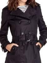 Czarny klasyczny płaszcz typu trencz                                  zdj.                                  3
