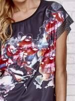 Czarny kwiatowy t-shirt ze skórzanymi rękawami                                  zdj.                                  5