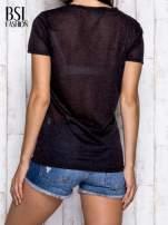 Czarny melanżowy t-shirt z okrągłym dekoltem