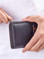 Czarny męski portfel skórzany na suwak                                  zdj.                                  2