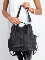 Czarny miękki plecak torba                                   zdj.                                  2
