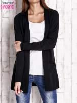 Czarny otwarty sweter z błyszczącą nitką                                                                          zdj.                                                                         1