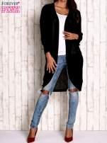 Szary otwarty sweter z kieszeniami