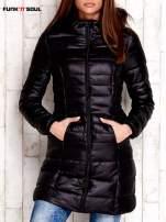 Czarny pikowany płaszcz z kapturem FUNK N SOUL                                  zdj.                                  1