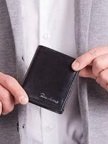 Czarny pionowy elegancki skórzany portfel                                   zdj.                                  2