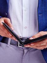 Czarny portfel męski skórzany z łączonych materiałów                                  zdj.                                  5