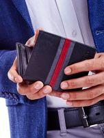 Czarny portfel skórzany z czerwoną wstawką                                  zdj.                                  2
