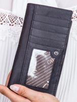 Czarny portfel z kontrastową wstawką w paski                                   zdj.                                  4