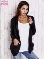 Czarny puszysty sweter z bocznymi kieszeniami                                  zdj.                                  7