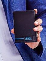Czarny skórzany portfel dla mężczyzny z niebieskim emblematem                                  zdj.                                  2