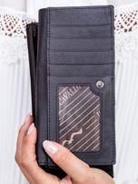 Czarny skórzany portfel z ozdobnym modułem                                  zdj.                                  4