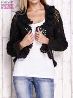 Czarny sweter o szerokim splocie z wiązaniem                                  zdj.                                  5