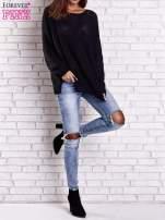 Czarny sweter oversize z rozcięciami po bokach                                  zdj.                                  8