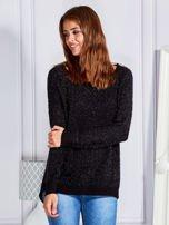 Czarny sweter z dekoltem w łódkę                                  zdj.                                  1