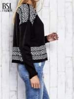 Czarny sweter z geometrycznymi splotami                                  zdj.                                  4