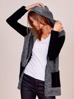 Czarny sweter z kapturem na suwak                                  zdj.                                  5
