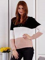 Czarny sweter z perełkami                                  zdj.                                  1