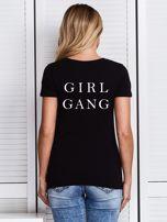 Czarny t-shirt GIRL GANG z nadrukiem z tyłu                                  zdj.                                  1