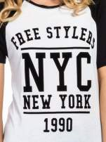Czarny t-shirt NEW YORK 1990  w stylu collage