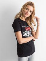 Czarny t-shirt damski z nadrukiem                                  zdj.                                  3