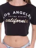 Czarny t-shirt typu crop top z nadrukiem UNITED STATES