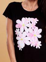 Czarny t-shirt z kolorowym kwiatowym nadrukiem                                  zdj.                                  5