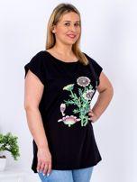Czarny t-shirt z kwiatowym printem PLUS SIZE                                  zdj.                                  3