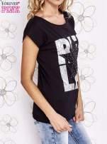 Czarny t-shirt z motywem gwiazdy i dżetami                                                                          zdj.                                                                         3