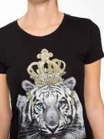 Czarny t-shirt z nadrukiem tygrysa z koroną                                  zdj.                                  6
