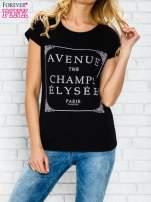 Czarny t-shirt z napisem AVENUE THE CHAMPS ÉLYSÉE                                  zdj.                                  1