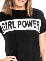 Czarny t-shirt z napisem GIRL POWER
