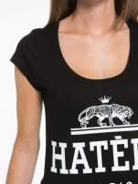 Czarny t-shirt z napisem HATERS PARIS                                  zdj.                                  7