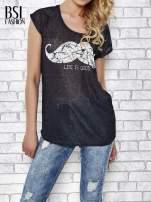 Czarny transparentny t-shirt z motywem moustache                                                                          zdj.                                                                         1