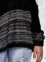 Czarny włochaty sweter oversize z kolorową nitką                                                                           zdj.                                                                         5