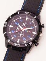 Czarny zegarek męski z niebieskimi wstawkami                                  zdj.                                  2