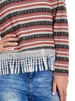 Czerwona bluza w azteckie wzory z koronką z frędzlami                                  zdj.                                  6