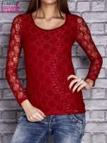 Czerwona bluzka z ażurowymi rękawami                                  zdj.                                  1