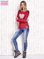 Czerwona bluzka z materiałową wstawką                                  zdj.                                  2