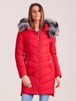 Czerwona długa kurtka na zimę                                  zdj.                                  1