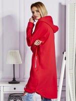 Czerwona długa ocieplana bluza z kapturem                                   zdj.                                  5