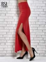 Czerwona długa spódnica maxi z rozporkiem                                  zdj.                                  5