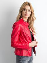 Czerwona kurtka biker ze skóry ekologicznej                                  zdj.                                  3